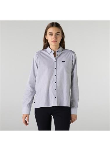 Lacoste Lacoste Kadın Regular Fit Çizgili Mavi Gömlek Mavi